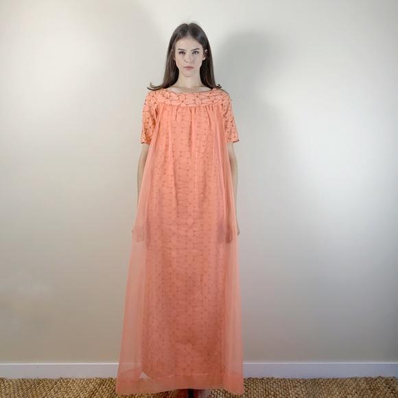 Vintage 1960s coral pink lace chiffon maxi dress
